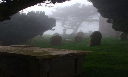 Zdjecie WIELKA BRYTANIA / Somerset / Somerset / cmentarz we mgle