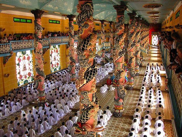 Zdjęcia: Tay Ninh, okolice Sajgonu, nabożeństwo kaodaistyczne, WIETNAM
