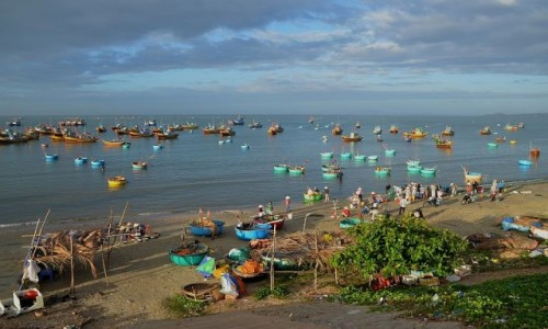 Zdjecie WIETNAM / południe  / wioska rybacka w okolicy Mui ne / o świcie