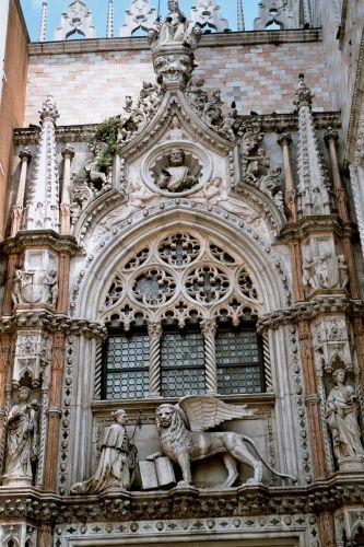 Zdjęcia: Wenecja - nad wejściem do Pałacu Dożów, Wenecja, WłOCHY