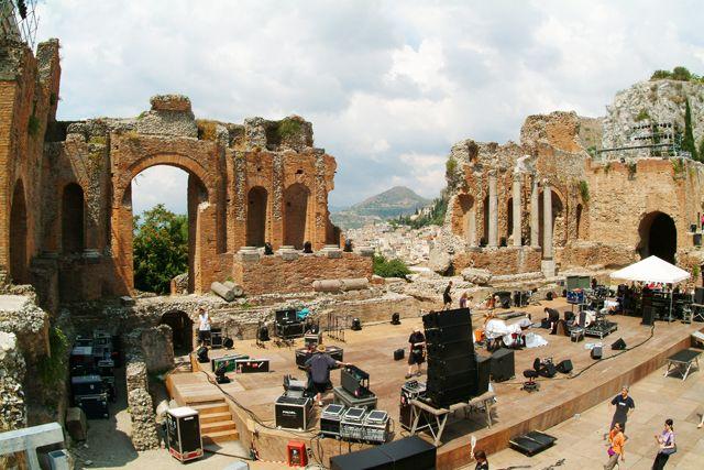 Zdjęcia: Taormina, Sycylia, Amfiteatr z widokiem na Etnę, WłOCHY