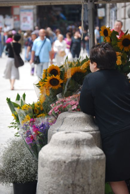 Zdjęcia: Neapol, Campania, kwiaciarka na Piazza del Gesu, WłOCHY