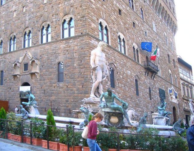 Zdjęcia: Florencja  -  Piazza della Signoria , Toskania, fontanna Neptuna, WłOCHY