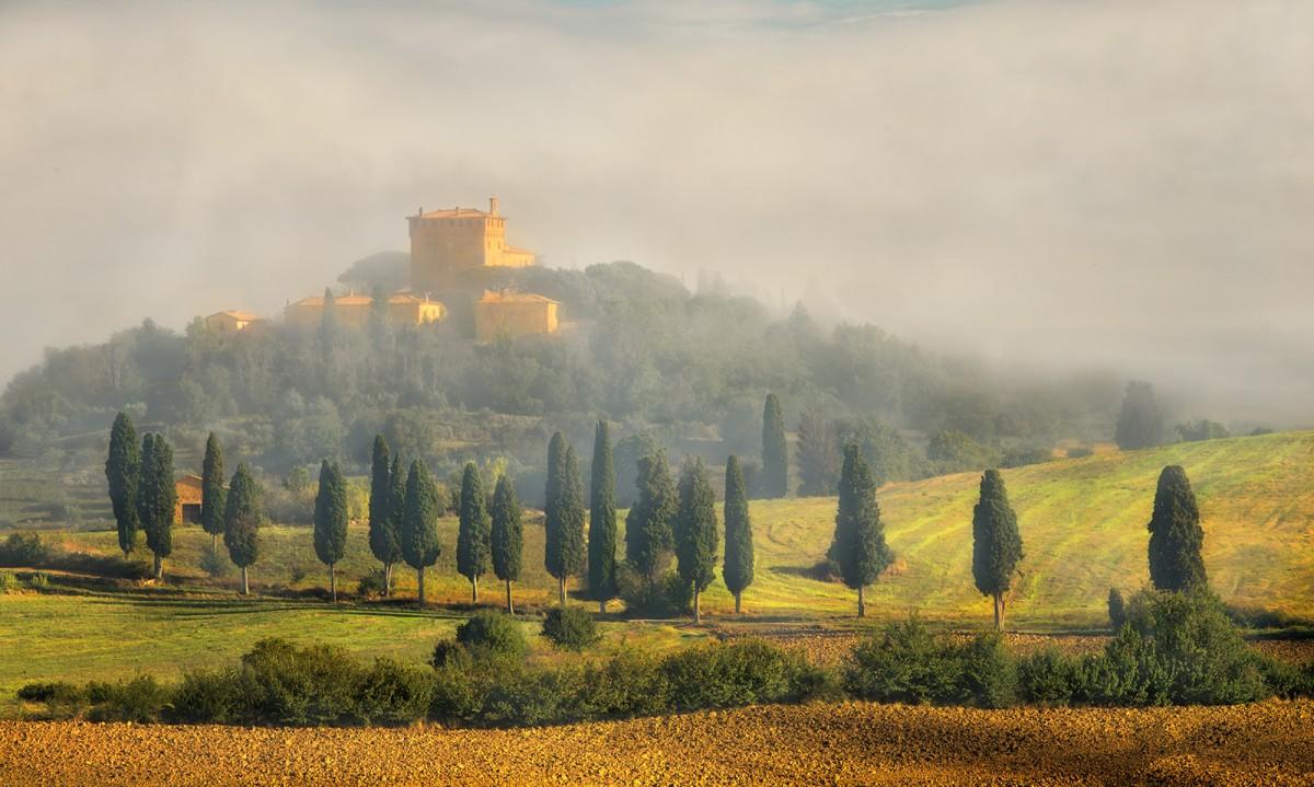 Zdjęcia: okolice Pienzy, Toskania, We mgle , WłOCHY