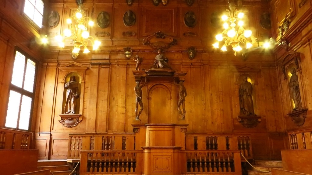 Zdjęcia: Bolonia, Emilia-Romania, Palazzo dell'Archiginnasio - teatr anatomiczny, WłOCHY