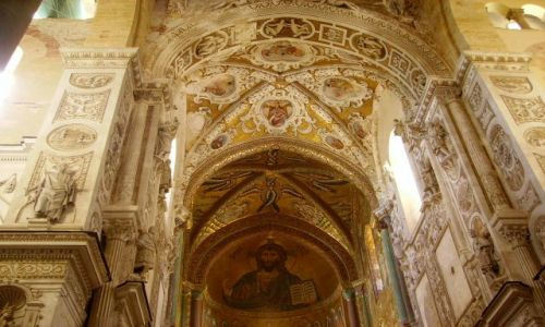 Zdjecie WłOCHY / Sycylia / Cefalu-katedra / słynna mozaika Chrystusa Pankratora