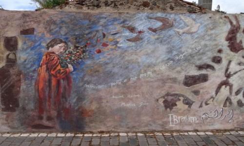 Zdjęcie WłOCHY / Sardynia / Tinnura / BUDUJEMY MOSTY NIE MURY -mural z Tinnury