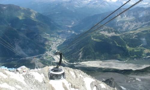 WłOCHY / Alpy / Masyw Mont Blanc i Dolina Aosty / Nowoczesna, obrotowa kolejka z Helbronner do Courmayeur