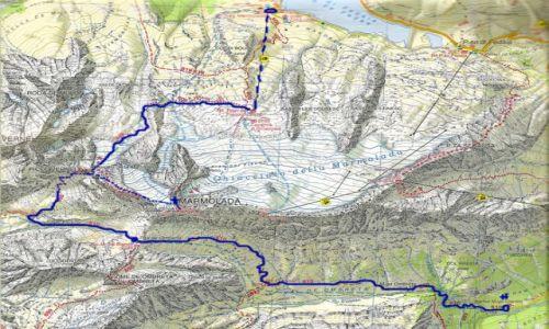 WłOCHY / Dolomity / Marmolada / Mapa Marmolada