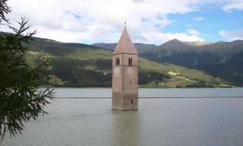 Zdjecie WłOCHY / Bolzano / RESIA / zatopiony kosciół