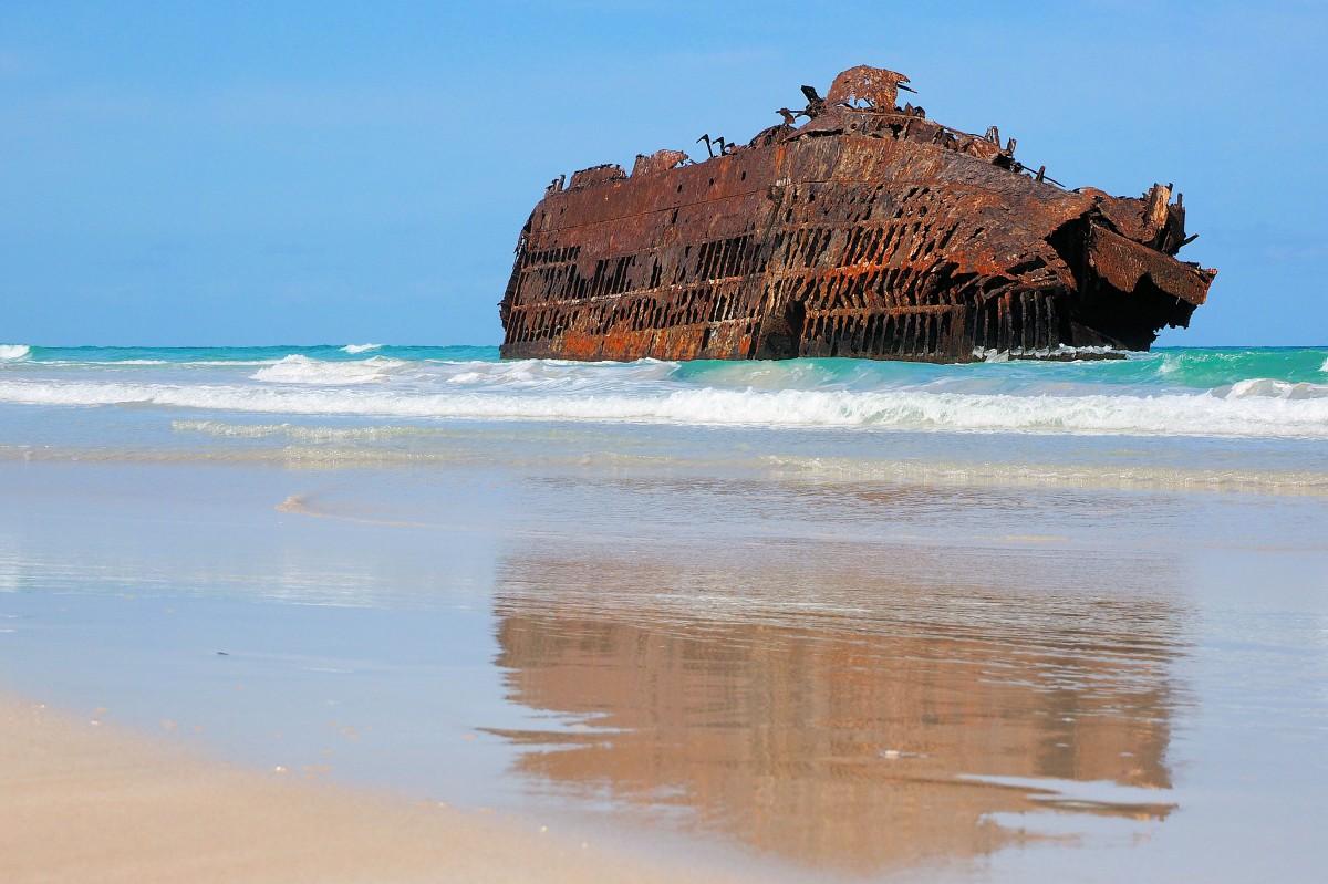 Zdjęcia: Wybrzeża wyspy, Boa Vista, Wrak na plaży Boa Vista, WYSPY ZIELONEGO PRZYLĄDKA