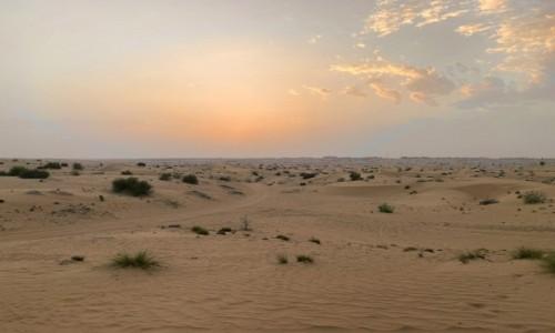 ZJEDNOCZONE EMIRATY ARABSKIE / - / Dubaj  / Zachód słońca nad dubajską pustynią