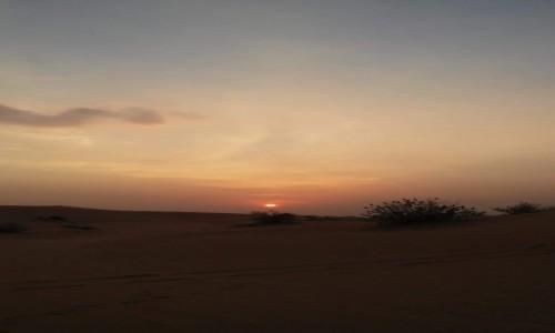 ZJEDNOCZONE EMIRATY ARABSKIE / - / Niedaleko Dubaju / Zachód słońca na pustyni